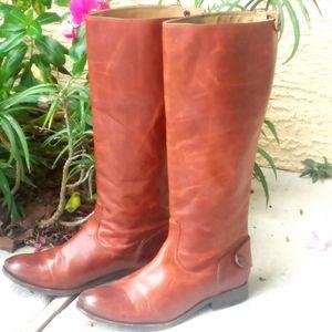 FRYE Melissa Cognac Leather Riding Boots